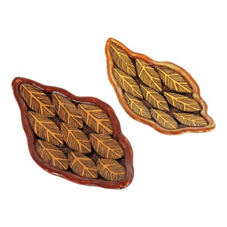 Vickie Dumas Pottery Leaf Dishes - A Pair