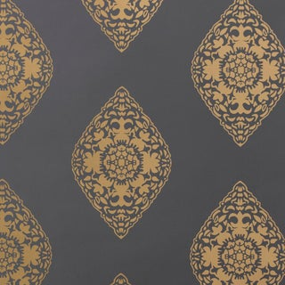 Boteh Motif Slate & Gold Wallpaper