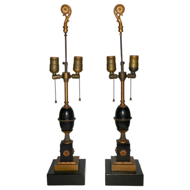 Image of Antique Empire Style Lamps - Pair