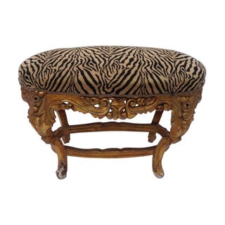 Antique Gilded Wooded Rococo Ottoman or Stool