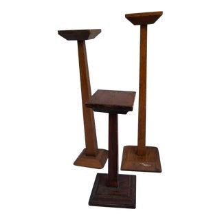 Arts Crafts Wooden Hat Stands - Set of 3