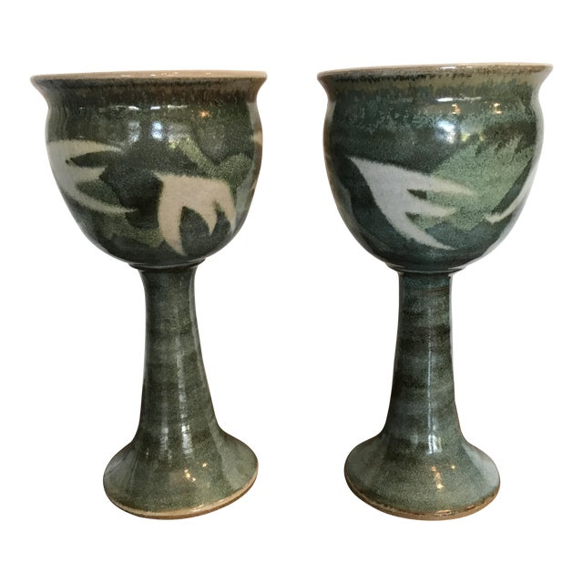 Blue & Green Ceramic Goblets - A Pair - Image 1 of 9