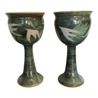 Blue & Green Ceramic Goblets - A Pair