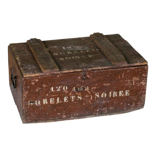 Curious Stenciled Lidded Wooden Belgian Campaign Trunk with Blown-Glass Glasses, circa 1915