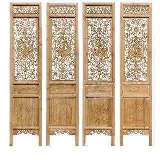 8 Immortals Carved Panel Floor Screens - Set of 4