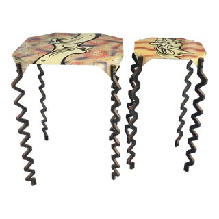 Surrealist Artist Metal Accent Tables - A Pair