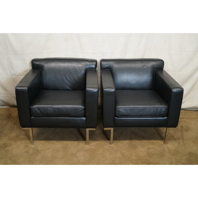 Image of Ted Boerner American Leather Club Chairs - Pair