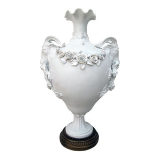 An Exquisite English Parian Marble & Bronze Urn w/Garland