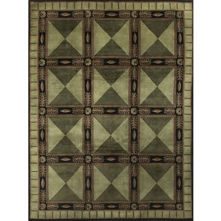 "Contemporary Green Hand-Knotted Wool Rug - 8'11"" x 11'8"""