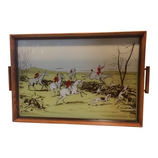 1950's Reverse Painted on Glass English Hound Hunting Scene Tray