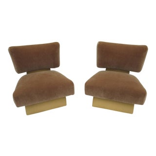 Art Deco Slipper Chairs in Leather and Mohair