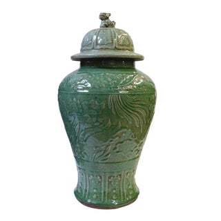 Chinese Crackle Celadon Green Temple Jar