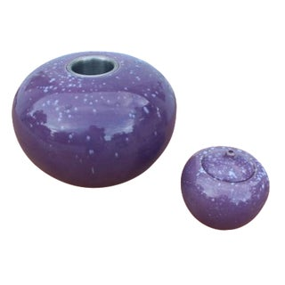 Spherical Purple Ceramic Ashtrays - A Pair