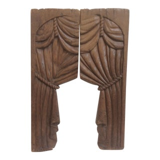 Carved Wood Panel Drapes for a Hearse - a Pair