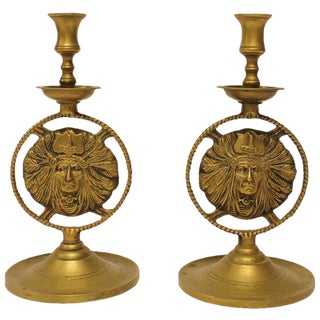 20th Century Brass Candlesticks With Native American Image