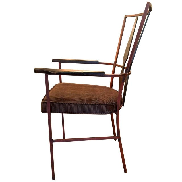 Set of Four Enameled Steel and Walnut Armchairs in the Manner of Salterini - Image 4 of 4