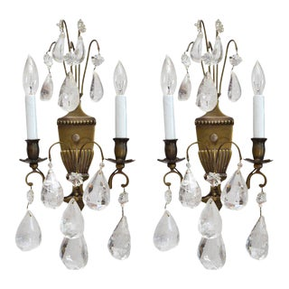 Bohemian Rock Crystal and Bronze Wall Sconces - A Pair