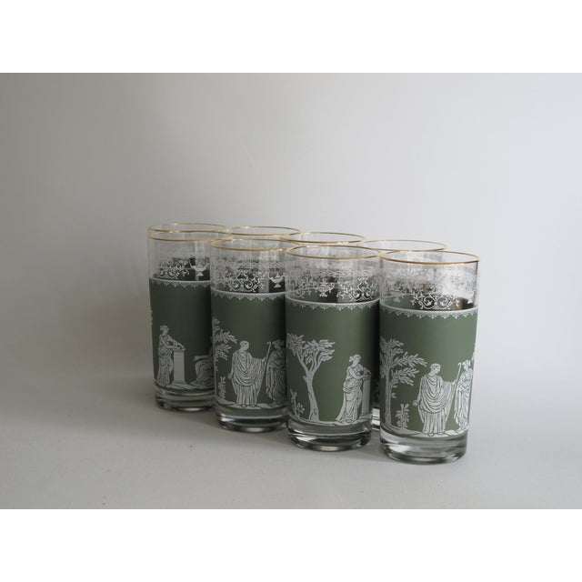 Neoclassical High Ball Glasses & Caddy - Set of 9 - Image 4 of 9