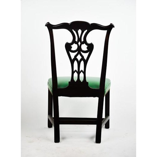 Green Vinyl Upholstered Chippendale Dining Chairs - Set of 6 - Image 5 of 10