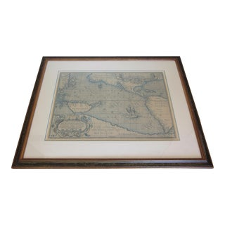 Vintage Framed Pacific Ocean Map Circa 1589