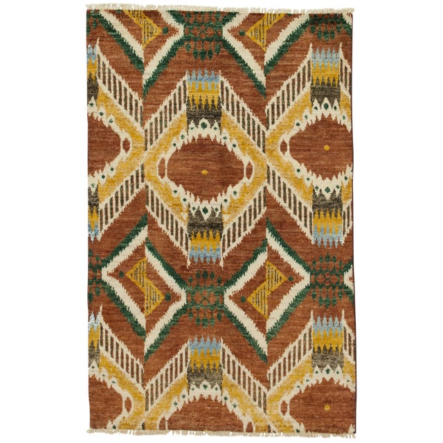 """New Ikat Hand Knotted Area Rug - 4' x 6'3"""" - Image 1 of 3"""