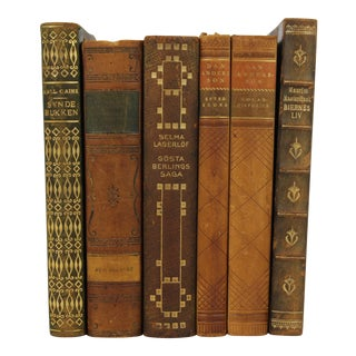 Art Deco Leather-Bound Books - Set of 6