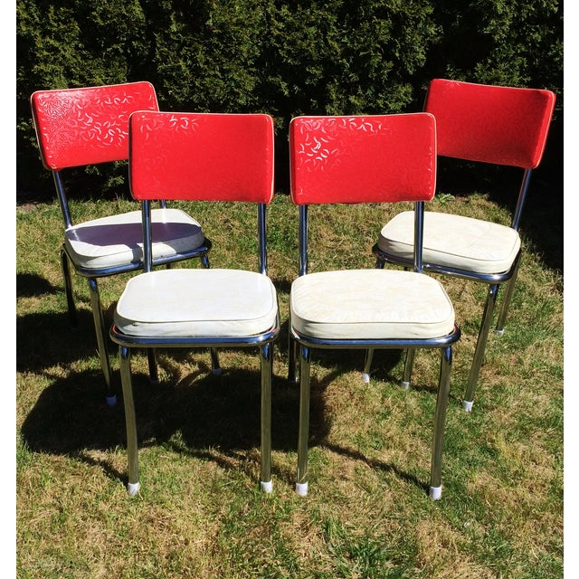 Vintage Vinyl Chrome Kitchen Chairs Set Of 4 Chairish