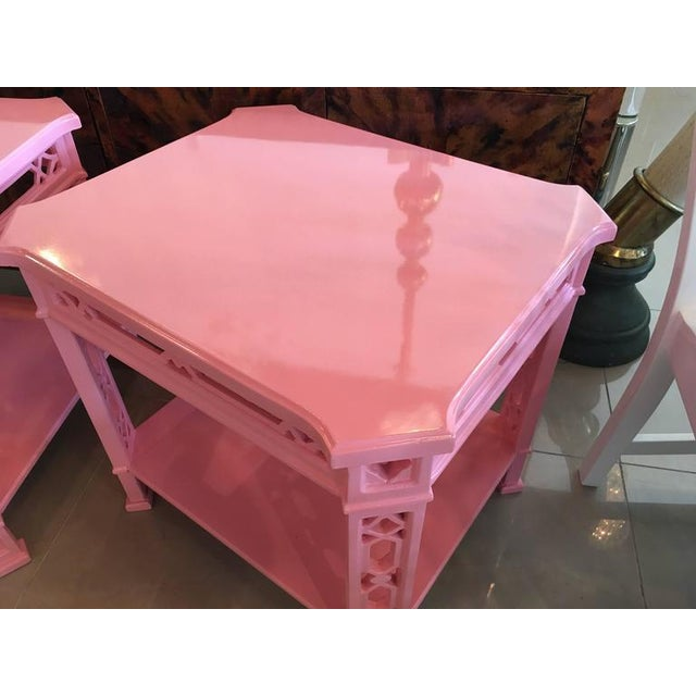 Chinoiserie Pink Lacquered Fretwork Side Tables - A Pair - Image 9 of 11