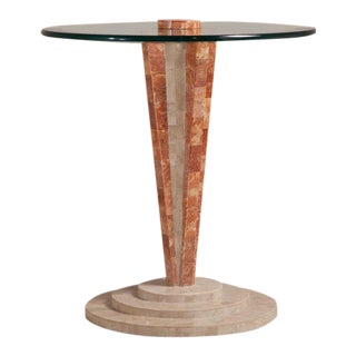 An Art Deco Style Tessellated Stone Pedestal Side Table