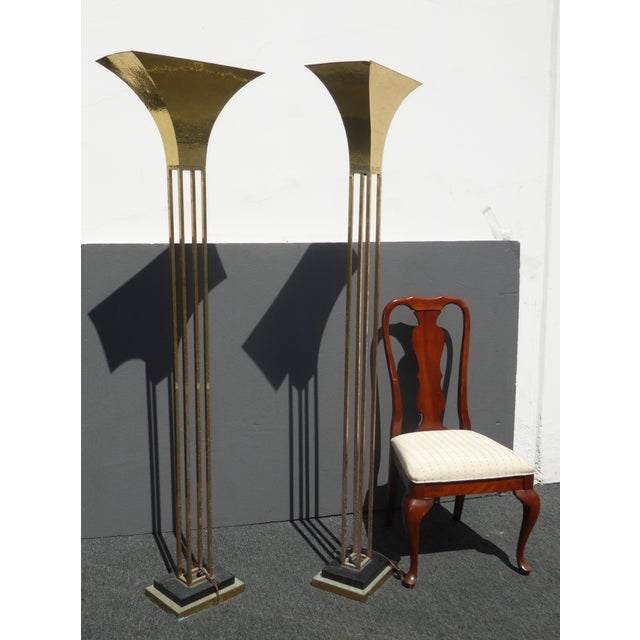 Mid century art deco brass plated torchiere floor lamps for Brass plated floor lamp