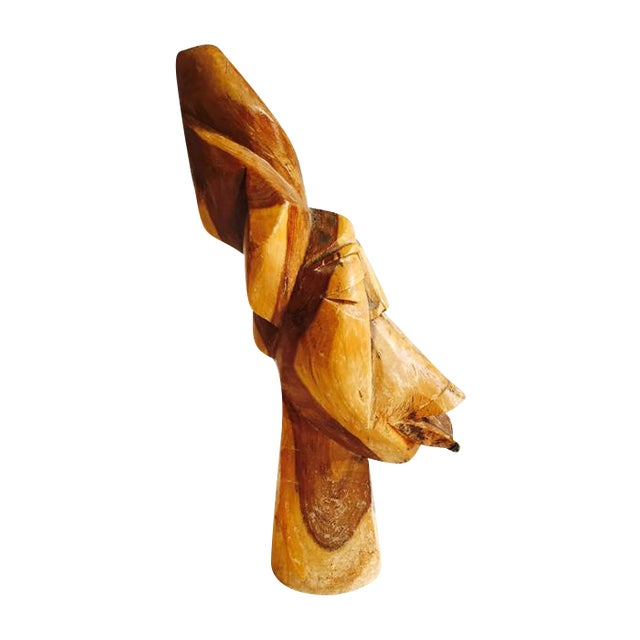 Mid Century Solid Wood Carved African Head Statue - Image 1 of 7