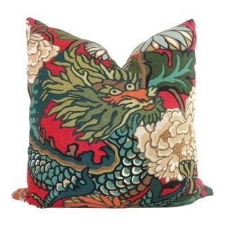"20"" x 20"" Schumacher Chiang Mai Dragon Pillow Cover"