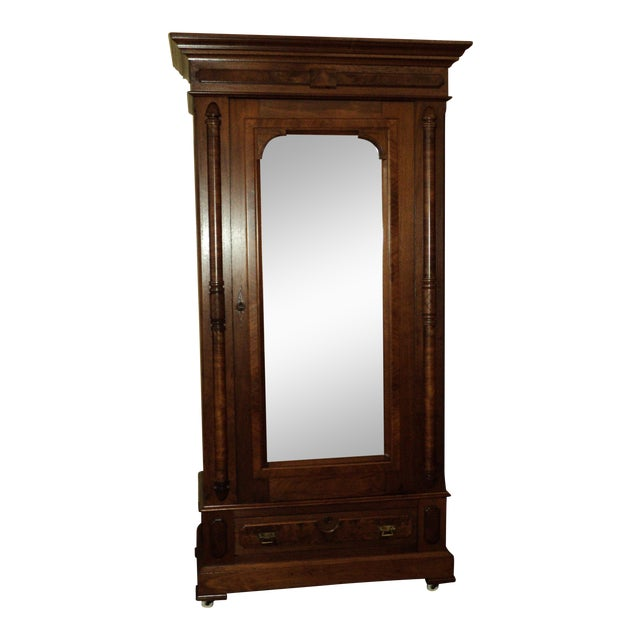 Image of Antique Walnut Eastlake Victorian Armoire