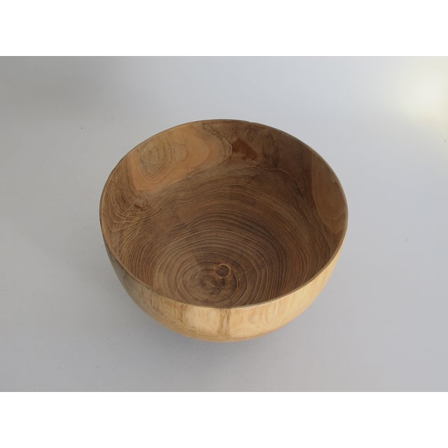 Carved Solid Wood Bowl with Bun Feet - Image 6 of 7