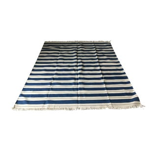 Dhurrie Nautical Blue Striped Rug Custom Handmade in India - 6′ × 8′3″