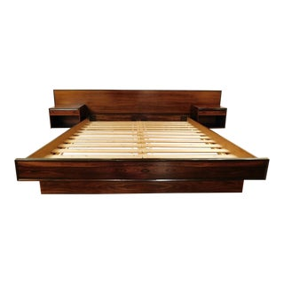 Westnofa Danish Modern Rosewood California King Platform Bed & Floating Nightstands