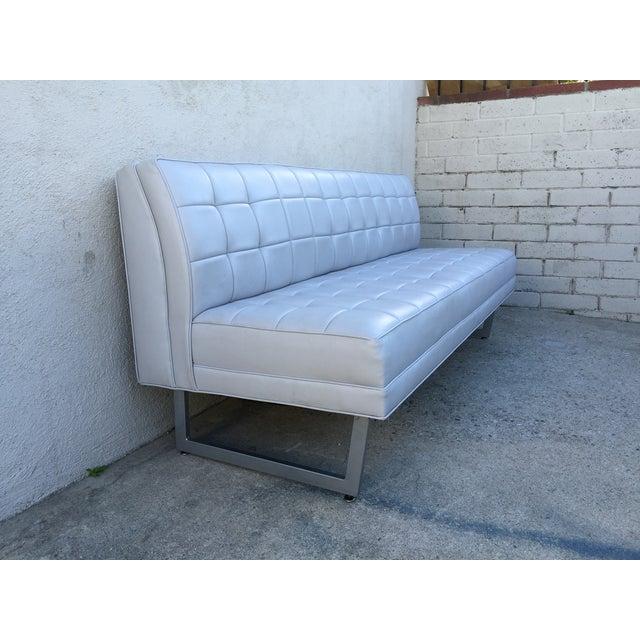 Modern Vinyl Chrome Legs Sofa - Image 6 of 10