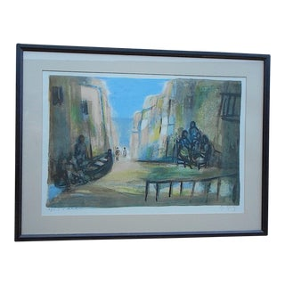 Vintage Signed Ltd. Ed. Color Lithograph-French-Artist's Proof-Scene In Seaside Town