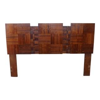 1970 Modernist Cubist Tile Brutalist F/Q Headboard