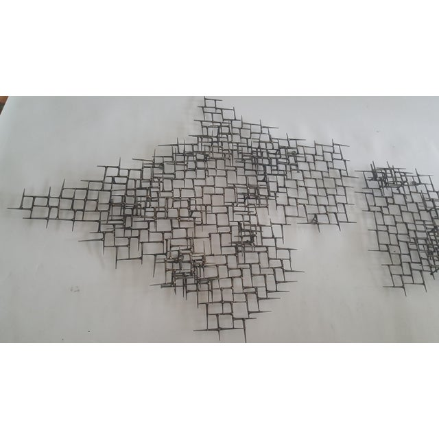 Abstract Fish Wall Sculpture Welded Nails & Bronze - Image 6 of 7
