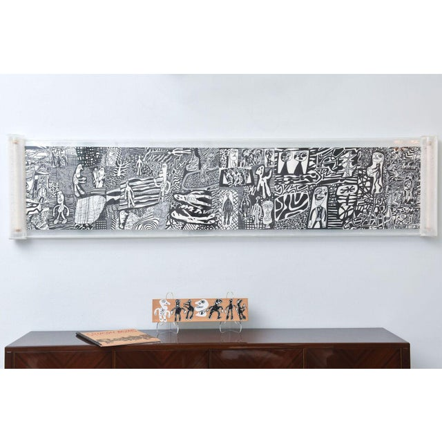 "Rare Jean Dubuffet Monochrome Silkscreen Mural on Paper Scroll, ""Parcours"" - Image 3 of 11"