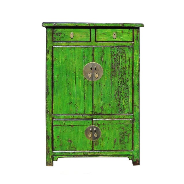 Image of Vintage Chinese Bright Green Rustic Armoire