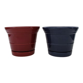 Glazed Ceramic Planters - A Pair