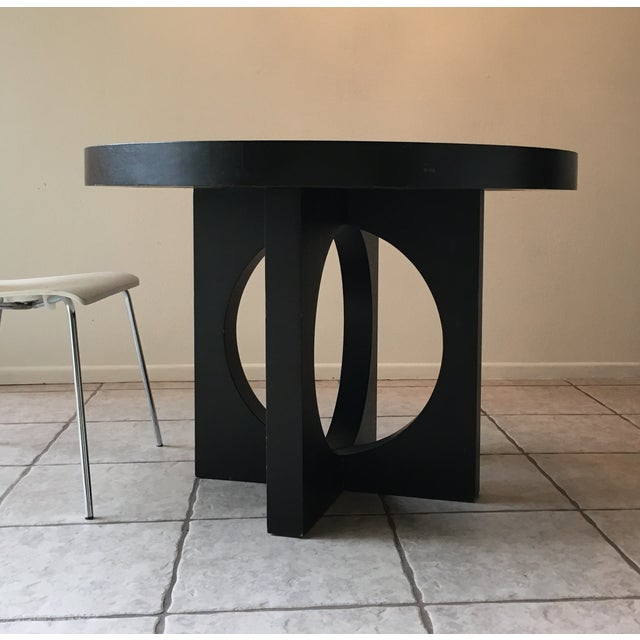 West Elm Black Round Cut Out Dining Table - Image 2 of 4