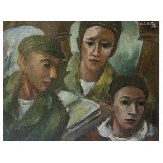 Boris Deutsch Three Young Men Oil Painting