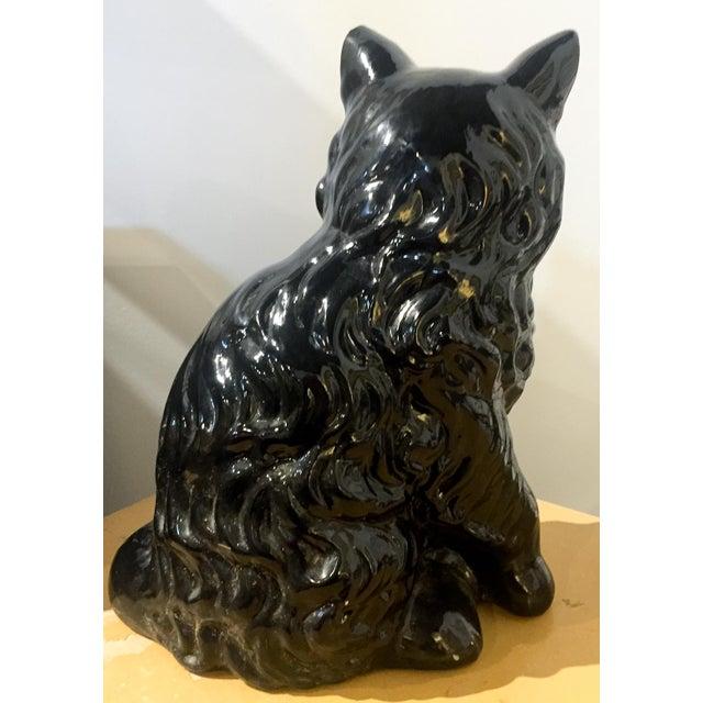 Vintage Ceramic Black Cat Statue - Image 3 of 5
