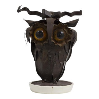 A Small Brutalist Owl on a White Ceramic Base 1960s