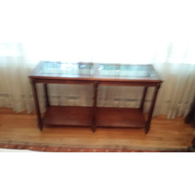 Vintage Solid Fruitwood and Beveled Glass Console Table - Image 5 of 11