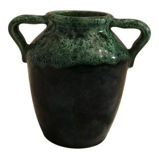 McCoy Green Glazed Handled Vase
