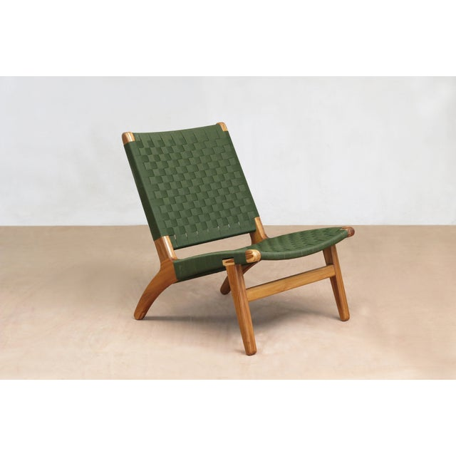Mid-Century Modern Green Nylon Lounge Chair - Image 2 of 7